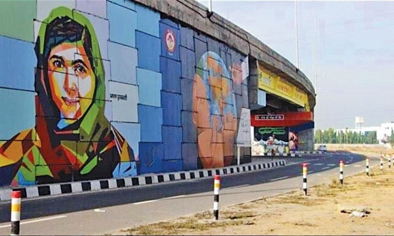 Malala honored in India with a mural painted amongst the