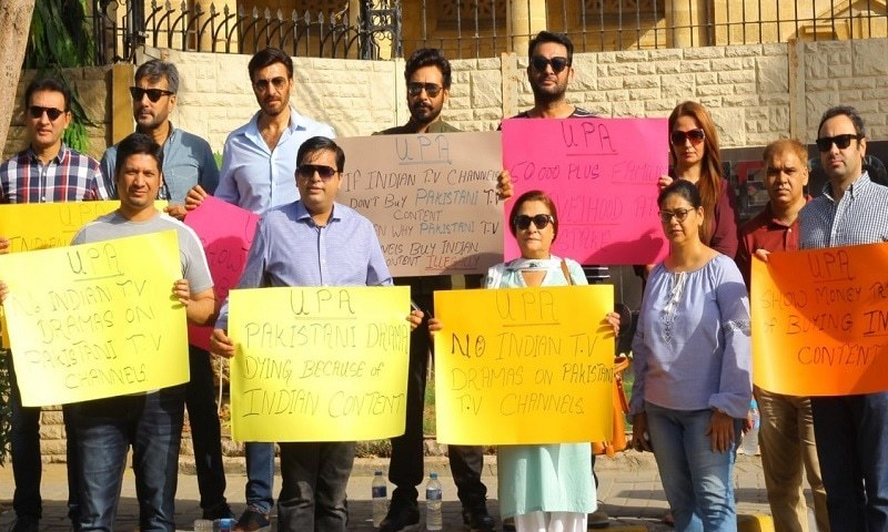 Faysal Qureshi, Adnan Siddiqui and others protest against airing of foreign content on local television