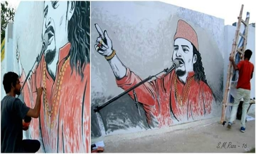 Pakistan pays tribute to amjad sabri through vigils for Celebrity mural
