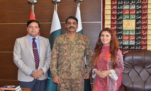 Momina Mustehsan talks to the youth internship programme at ISPR office