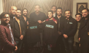 "Hareem Farooq and team deliver ""Parchi"" to Prime Minister Shahid Khaqan Abbasi in Islamabad!"