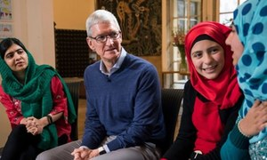 Apple's Tim Cook and Malala Yousafzai announce landmark partnership to expand reach of Malala Fund