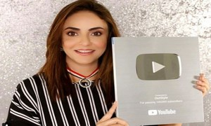 "Nadia Khan has the silver YouTube button for her Vlog ""Outstyle"""