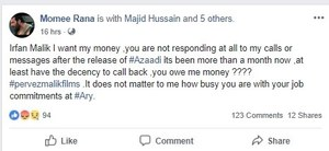 Moammar Rana takes payment dispute of Azaadi to social media!